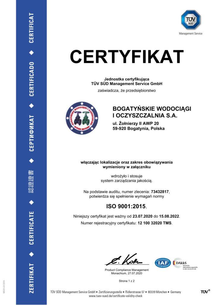 Certyfikat ISO - pierwsza strona